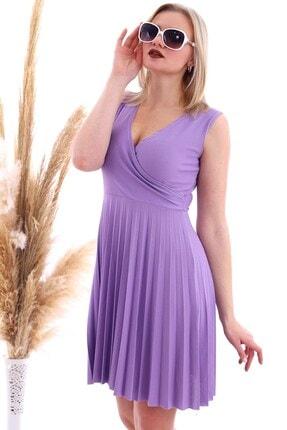 Cotton Mood 20070781 Örme Krep Eteği Pliseli Kruvaze Yaka Kolsuz Elbise Lıla