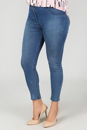 Womenice Kadın Lacivert Büyük Beden Klasik Kot Pantolon