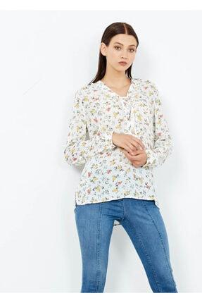Cazador Kadın Ekru Desenli Gömlek Tunik