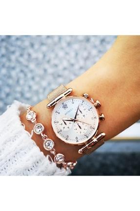Homies Kadın Kol Rose Gold Saati Bileklik Hediyeli