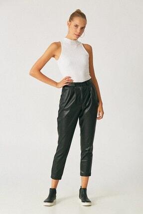 Robin Kadın Siyah Piliseli Yüksek Bel Deri Pantolon