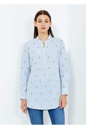 Cazador Kadın Mavi Ananas Desenli Çizgili Bluz