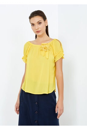 Cazador Kadın Sarı Omuz ve Kol Detaylı Şık Bluz  38