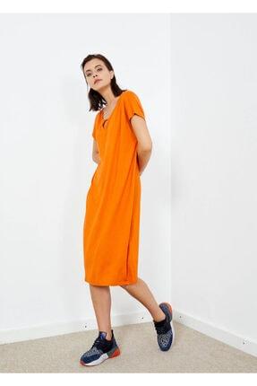 Cazador Kadın Turuncu Basic Yaka Detaylı Elbise