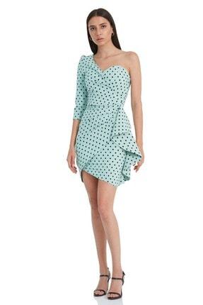 Keikei Kadın Mint Yeşili Deseny79 Krep Tek Kol Kısa Elbise