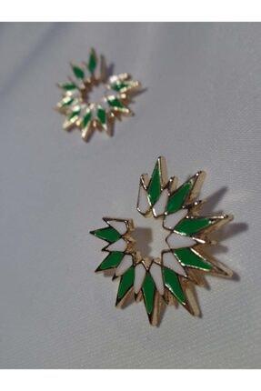 Accessories Yeşil Beyaz Yıldız Buketi Küpe