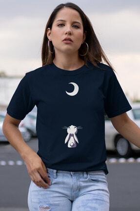 Rock & Roll34 Hilal ve Tavşan Lacivert Kısa Kollu Kadın T-shirt