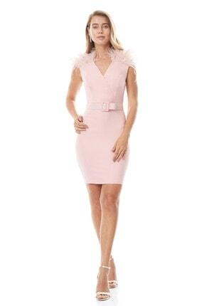Keikei Kadın Pudra Krep Uzun Kol Kısa Elbise