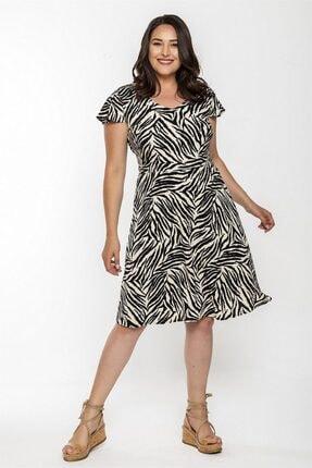 Seamoda Kadın Krem V Yaka Zebra Desen Elbise
