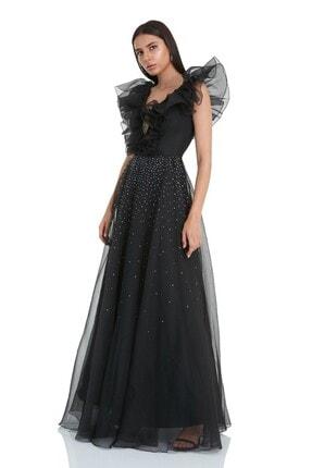 Keikei Kadın Siyah Tül Kolsuz Uzun Elbise