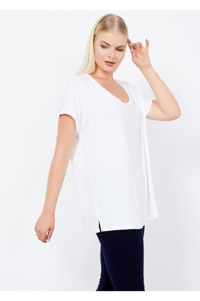 Cazador Kadın Beyaz Bisiklet Yaka Basic Tişört