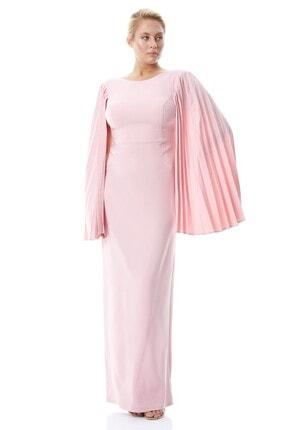 Keikei Kadın Pudra Büyük Beden Krep Uzun Kol Uzun Elbise