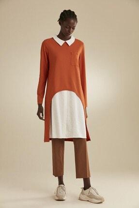 Tuğba Kadın Turuncu Yakası Beyaz Tunik