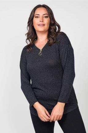 Womenice Kadın Gri Antrasit Fermuar V Yaka Büyük Beden Bluz