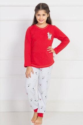 VİENETTA Kız Çocuk Kırmızı Lyc Ikiiplik Oyaka Uzun Kol Eteği Oval Manşetli Pijama Takım 4396,3-7 Yaş