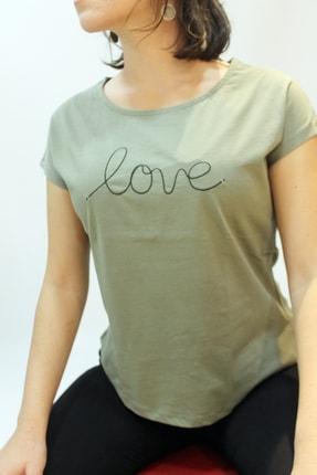 Cazador 4393 Bayan Love Işleme Kısa T-shirt Haki
