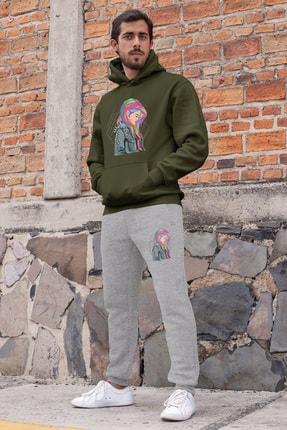 Angemiel Wear Gökkuşağı Saçlı Kız Erkek Eşofman Takımı Yeşil Kapşonlu Sweatshirt Gri Eşofman Altı