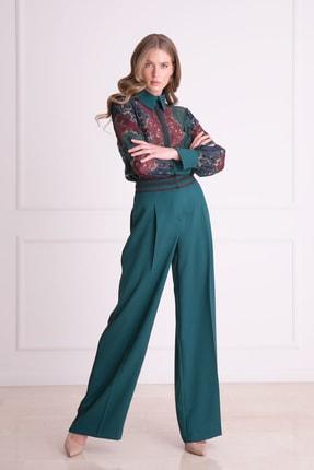 Gizia Kadın Yeşil Bel Şerit Detaylı Bol Paça Pantolon