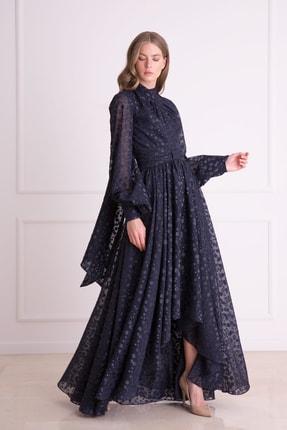 Gizia Kadın Lacivert Sırt Fular Detaylı Uzun Elbise
