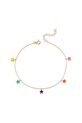 Altın Sepeti Rose Gümüş Renkli Yıldızlar Halhal