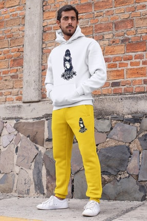 Angemiel Wear Gaz Maskeli Çekici Kız Erkek Eşofman Takımı Beyaz Kapşonlu Sweatshirt Sarı Eşofman Altı