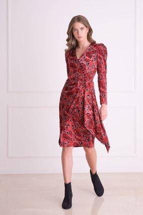 Gizia Kadın Kırmızı V Yaka Karpuz Kol Desenli Midi Elbise