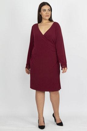 Şans Kadın Bordo Dantel Detaylı Anvelop Elbise 65N18149