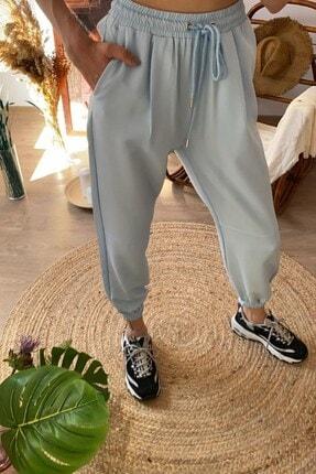 Quzu Kadın Mavi Paçası Lastikli Pantolon