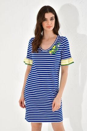 Hanna's Kadın Mavi Çizgili Limon Çiçeği İşlemeli Elbise
