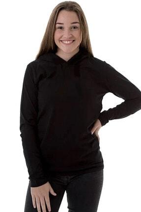 Rock & Roll34 Düz, Baskısız Siyah Kapşonlu Uzun Kollu  Kadın T-shirt