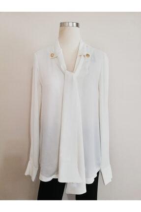 Vekem Kadın Beyaz Balon Kol Bluz