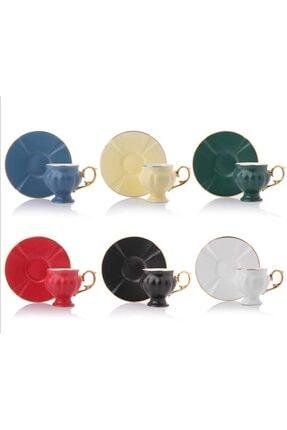 Renkli Kahve Çay Fincan Kupa Takımı 11946