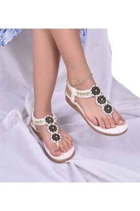 Guja Kadın Beyaz Taşlı Sandalet 20y150-7