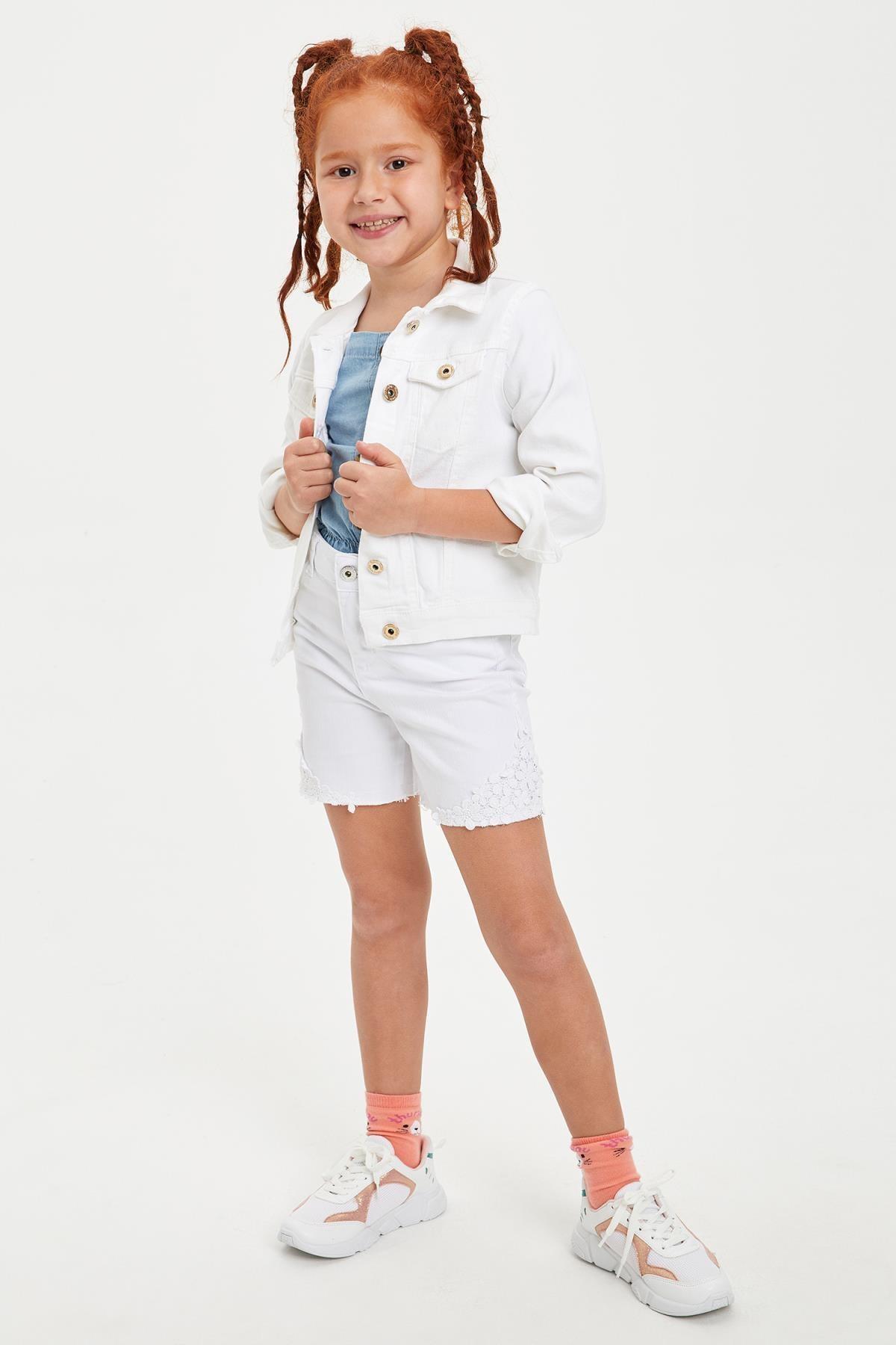 DeFacto Kız Çocuk Beyaz Kot Ceket