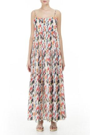 Armani Kadın Beyaz Desenli Askılı Maxi Kadın Elbise