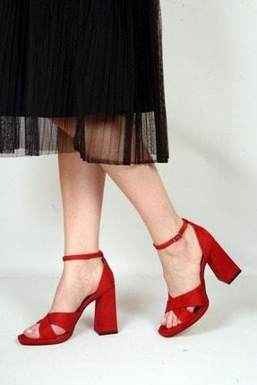 Kadın Kırmızı Süet  Klasik Topuklu Ayakkabı BY007710