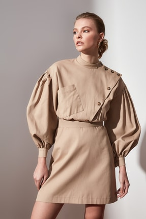 TrendyolMilla Camel Düğme Detaylı Elbise TWOAW21EL1437