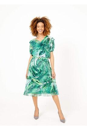 Cazador Kadın Yeşil V Yaka Kısa Kol Yaprak Desenli Elbise  40