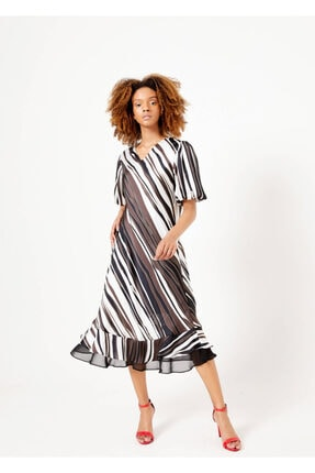 Cazador Kadın Kahverengi V Yaka Elbise