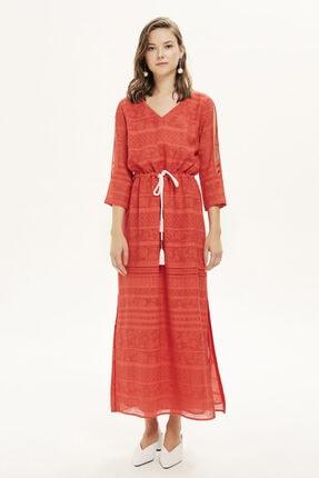 Naramaxx Yırtmaçlı Kırmısı Elbise