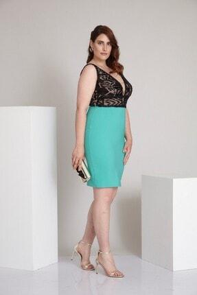 Keikei Kadın Mint Yeşil Büyük Beden Krep Kolsuz Kısa Elbise