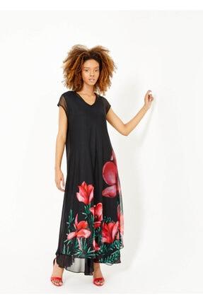 Cazador Kadın Siyah V Yaka Desenli Uzun Elbise