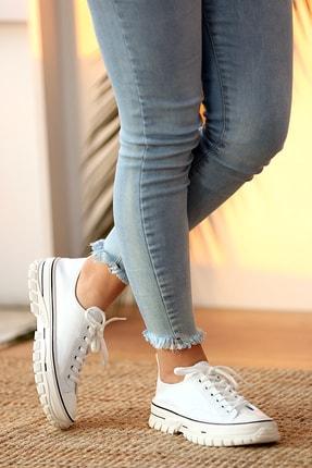 Pembe Potin Kadın Beyaz Bağcıklı Ayakkabı