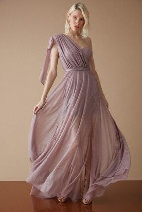 Keikei Kadın Lila Tül Tek Kol Uzun Abiye Elbise