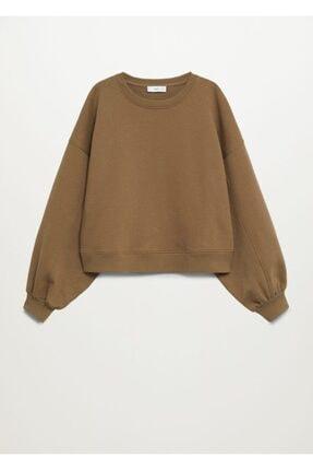 Mango Kadın Kahverengi Uzun Kollu Sweatshirt