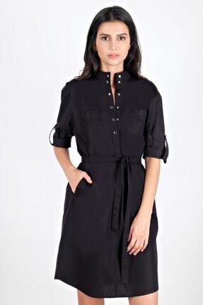 Spazio Kadın Siyah Kendyl Dirsek Kol Cepli Elbise 50095835