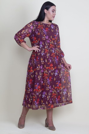 Şans Kadın Renkli Bel Kısmı Gipe Lastikli Astarlı Tül Elbise 65N18208