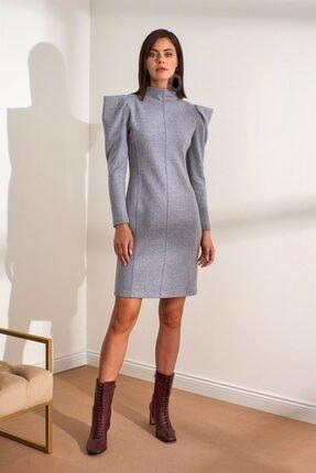 Setre Kadın Gri Hakim Yaka Karpuz Kol Mini Elbise
