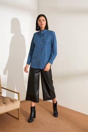 Setre Kadın Puslu Mavi Asimetrik Yaka Uzun Kol Gömlek