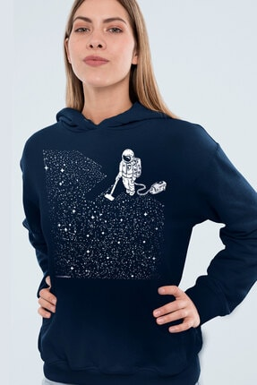 Rock & Roll34 Süpürgeli Astronot Lacivert Kapşonlu Kadın Sweatshirt